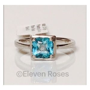 Jewelry - 925 Sterling Silver Blue Topaz Inset Diamond Ring